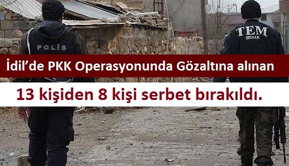 İdil'de PKK Operasyonunda Gözaltına alınan 13 kişiden 8 kişi serbet bırakıldı.
