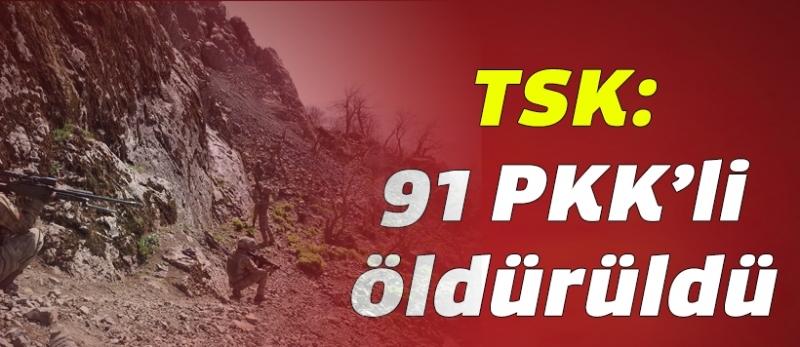 TSK: Son bir haftada 91 PKK'li öldürüldü