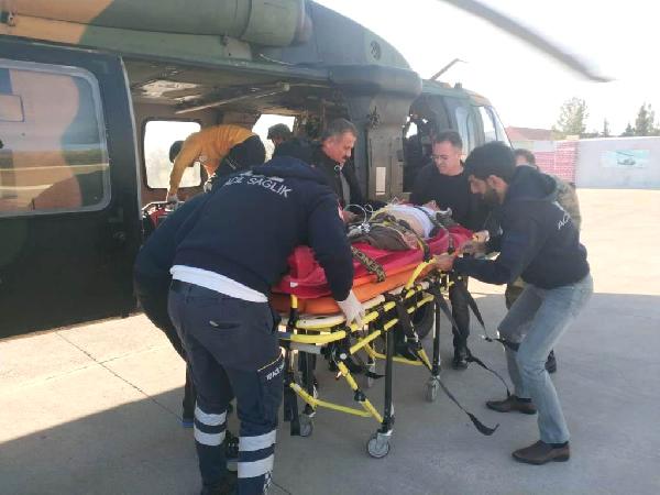 Beyin Kanaması Geçiren Vatandaşa  Askeri Helikopterle Sevk