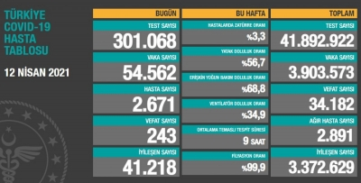 12 Nisan Türkiye'de koronavirüs tablosu