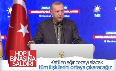Cumhurbaşkanı Erdoğan'dan İzmir'deki HDP binasına saldırı hakkında açıklama