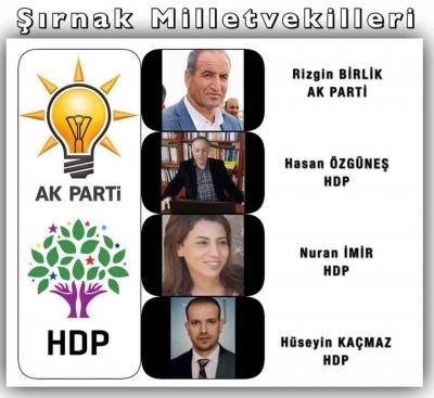 Şırnak'ta 4 Milletvekilliğinden 3'ünü Hdp, 1'ini AK Parti Aldı